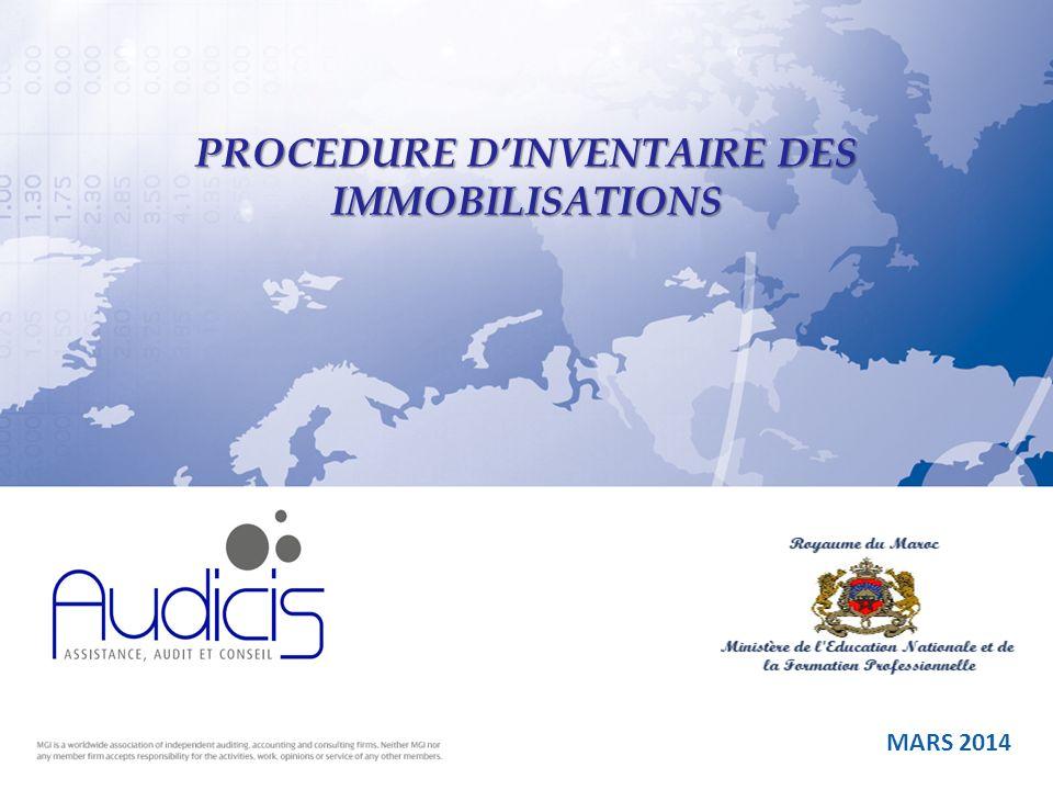 PROCEDURE D'INVENTAIRE DES IMMOBILISATIONS
