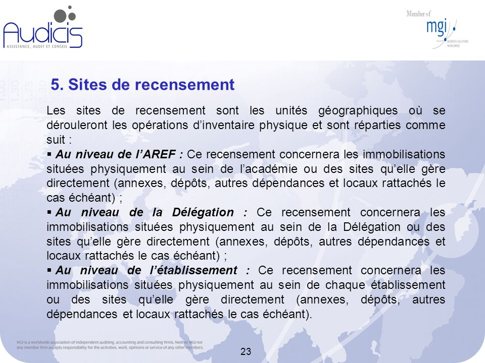 5. Sites de recensement