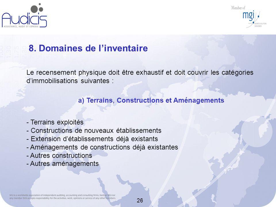 8. Domaines de l'inventaire