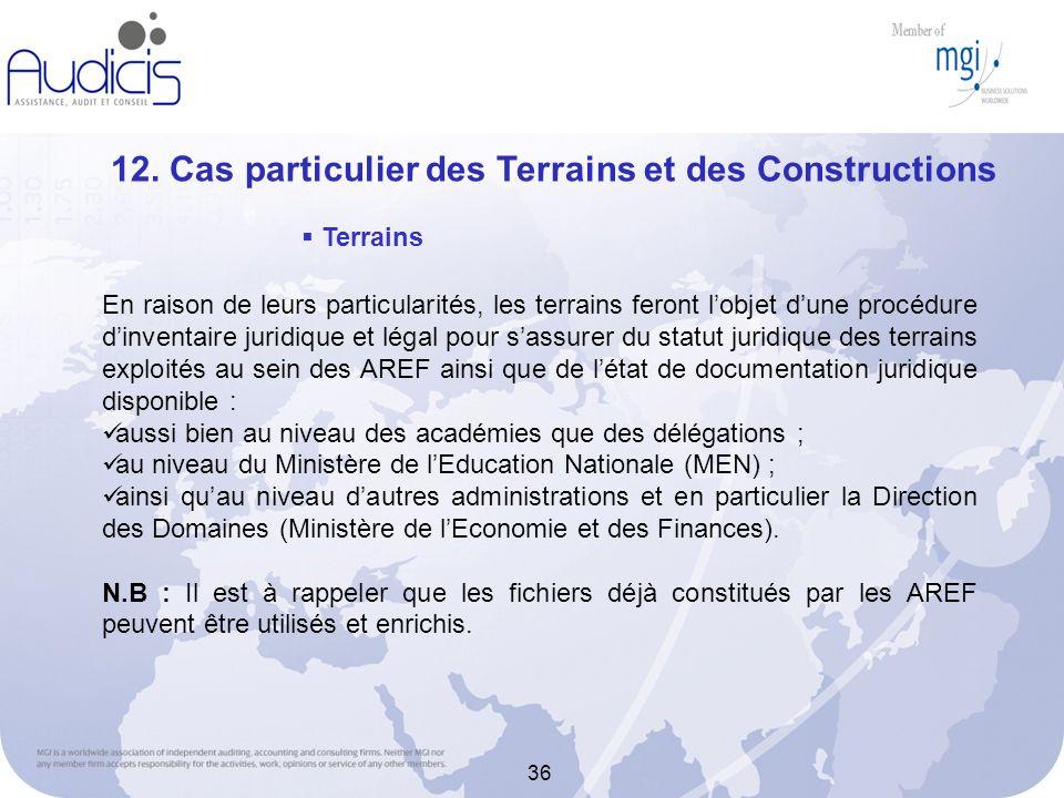 12. Cas particulier des Terrains et des Constructions