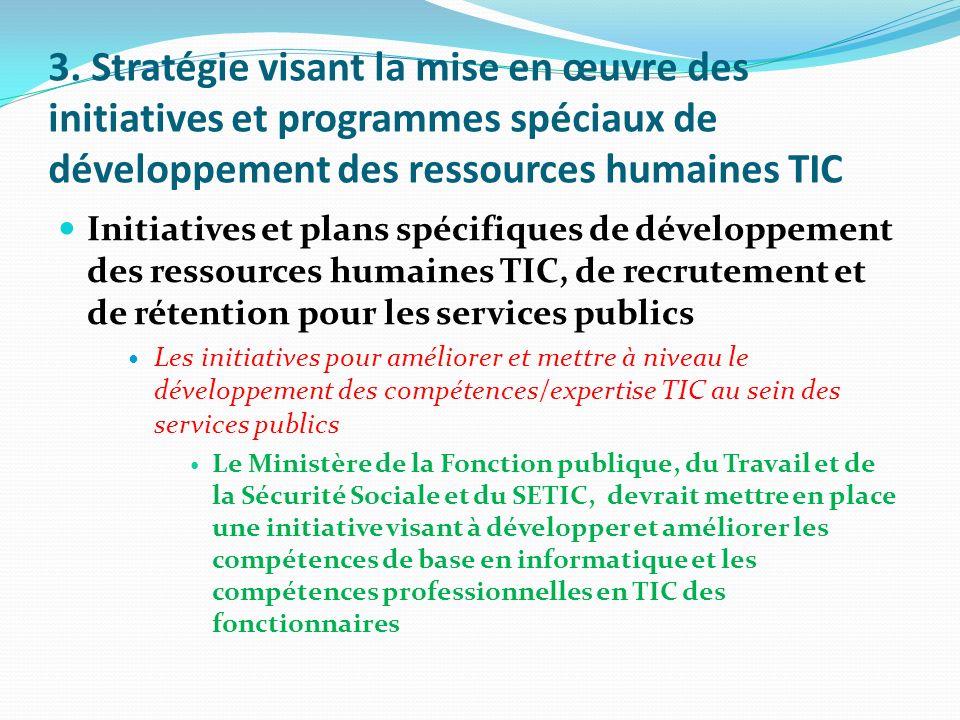 3. Stratégie visant la mise en œuvre des initiatives et programmes spéciaux de développement des ressources humaines TIC