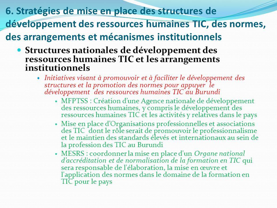 6. Stratégies de mise en place des structures de développement des ressources humaines TIC, des normes, des arrangements et mécanismes institutionnels