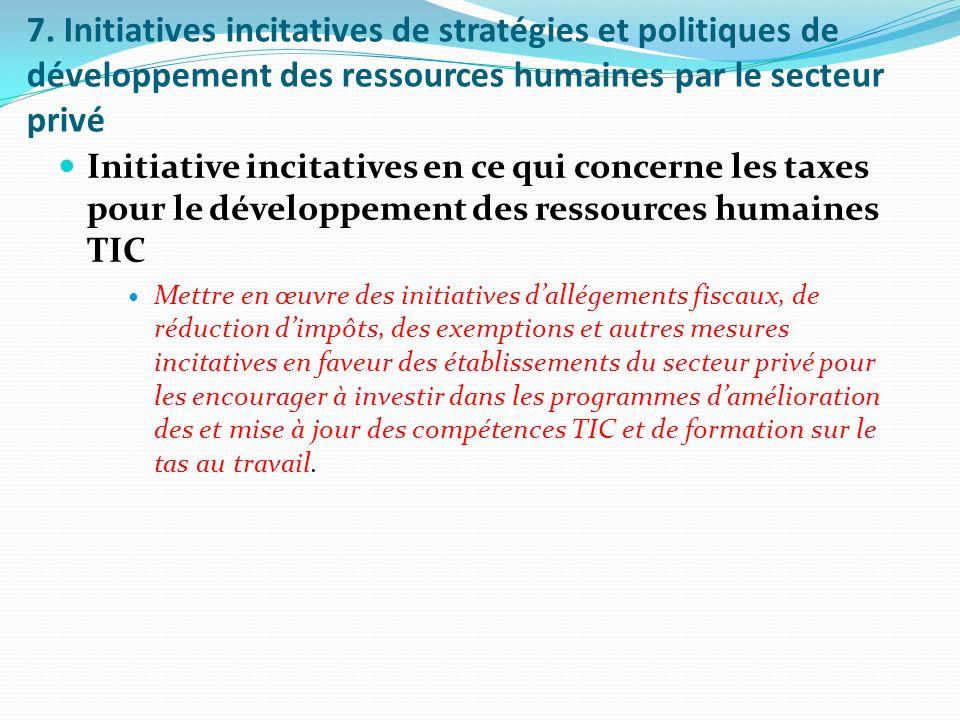 7. Initiatives incitatives de stratégies et politiques de développement des ressources humaines par le secteur privé