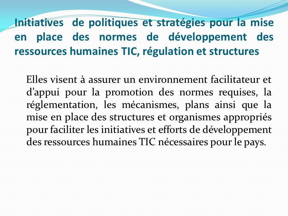 Initiatives de politiques et stratégies pour la mise en place des normes de développement des ressources humaines TIC, régulation et structures