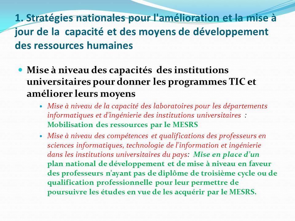1. Stratégies nationales pour l amélioration et la mise à jour de la capacité et des moyens de développement des ressources humaines