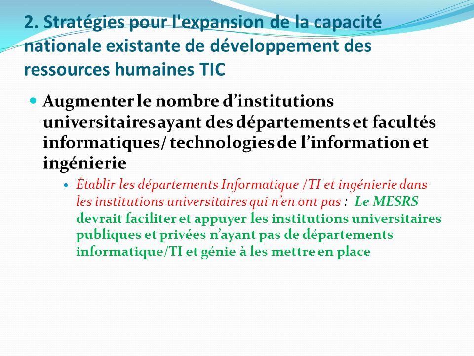 2. Stratégies pour l expansion de la capacité nationale existante de développement des ressources humaines TIC
