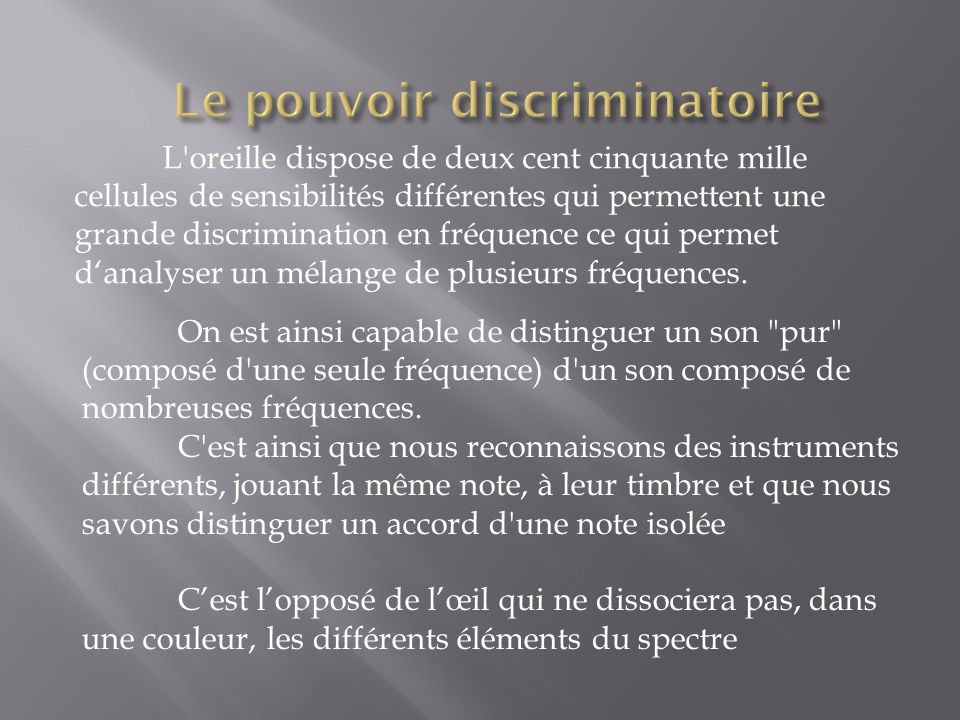 Le pouvoir discriminatoire