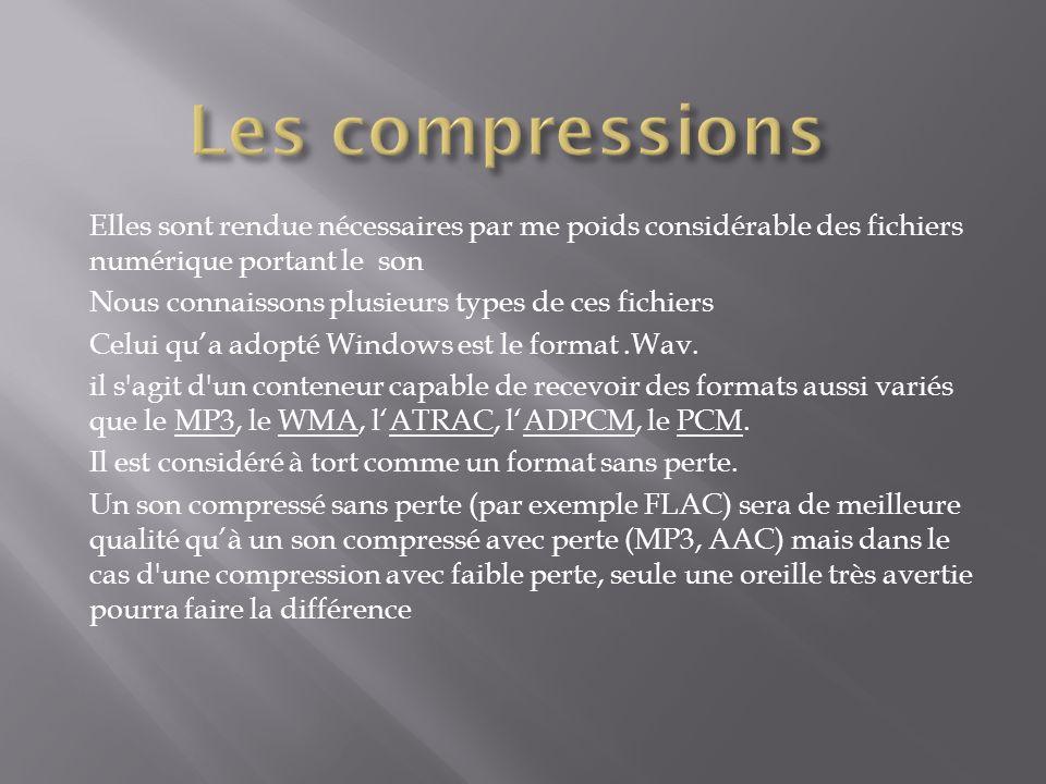 Les compressions Elles sont rendue nécessaires par me poids considérable des fichiers numérique portant le son.