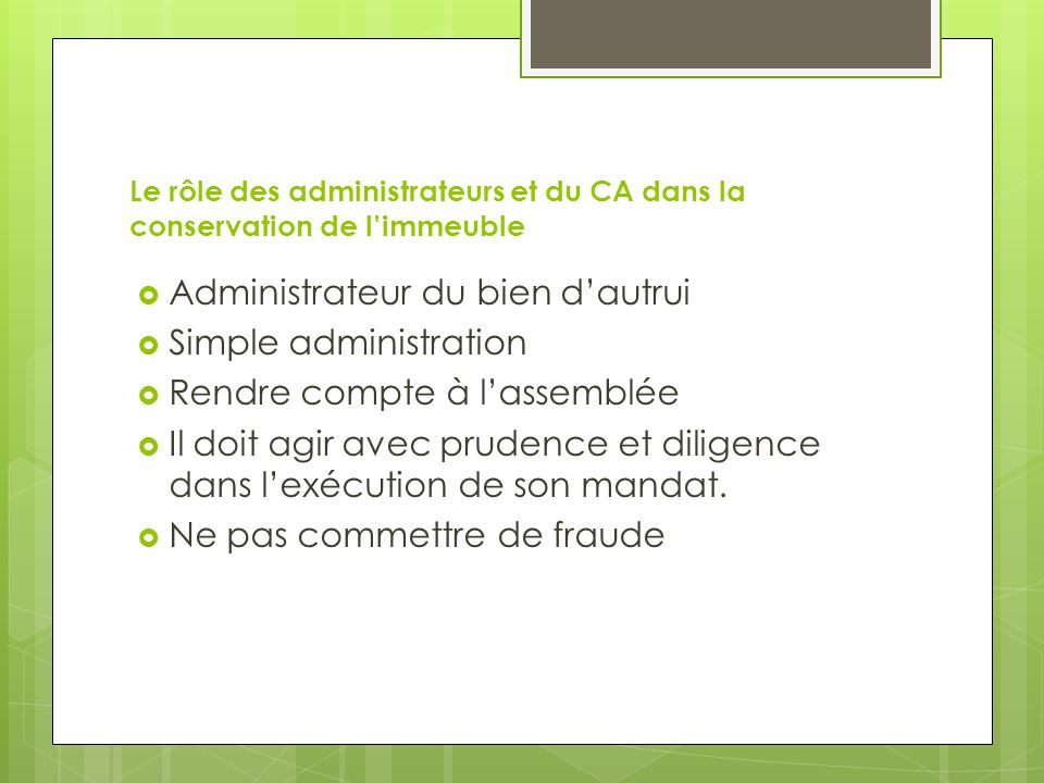 Administrateur du bien d'autrui Simple administration