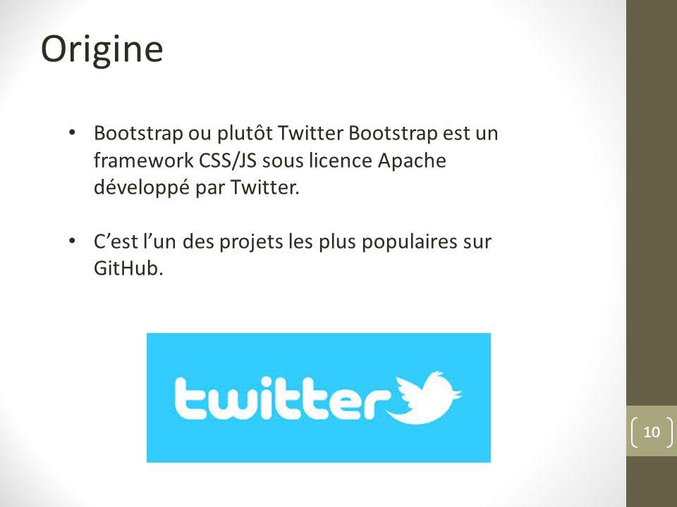 Origine Bootstrap ou plutôt Twitter Bootstrap est un framework CSS/JS sous licence Apache développé par Twitter.