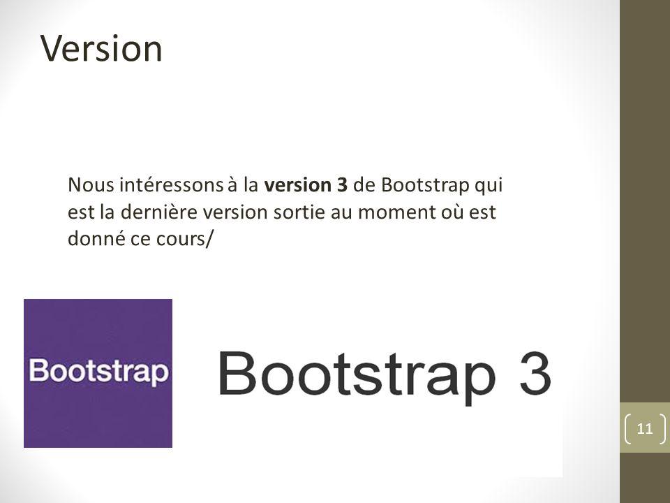 Version Nous intéressons à la version 3 de Bootstrap qui est la dernière version sortie au moment où est donné ce cours/