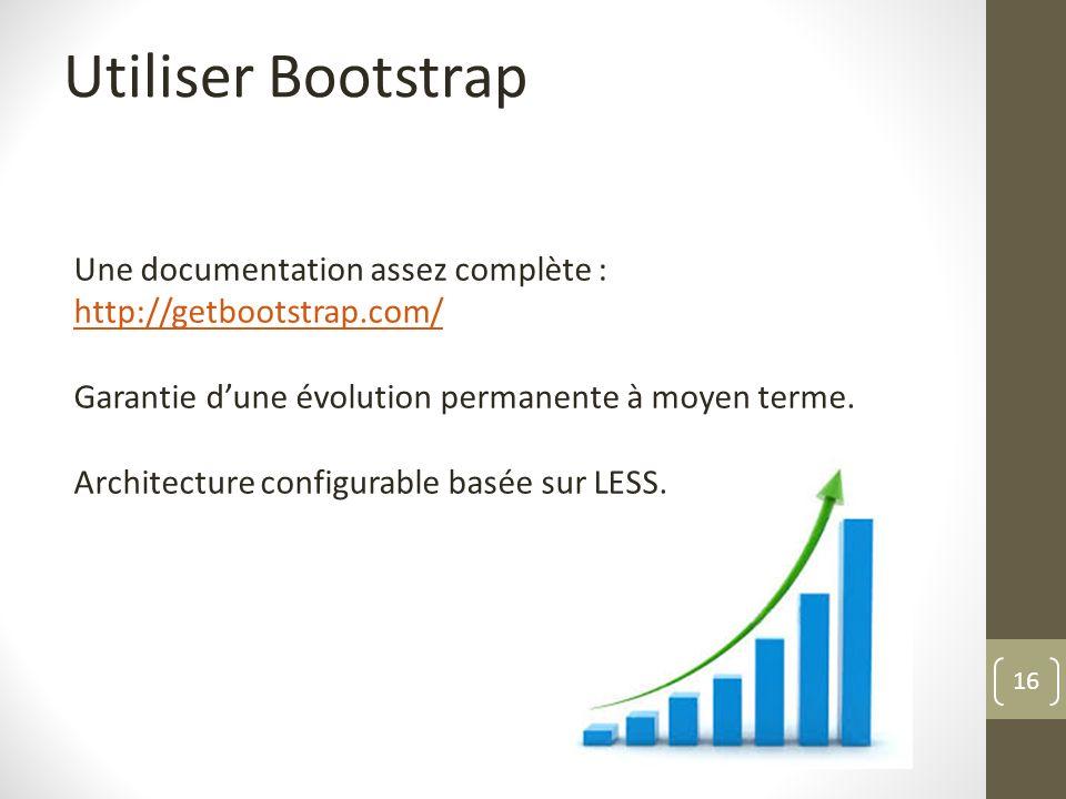 Utiliser Bootstrap Une documentation assez complète : http://getbootstrap.com/ Garantie d'une évolution permanente à moyen terme.