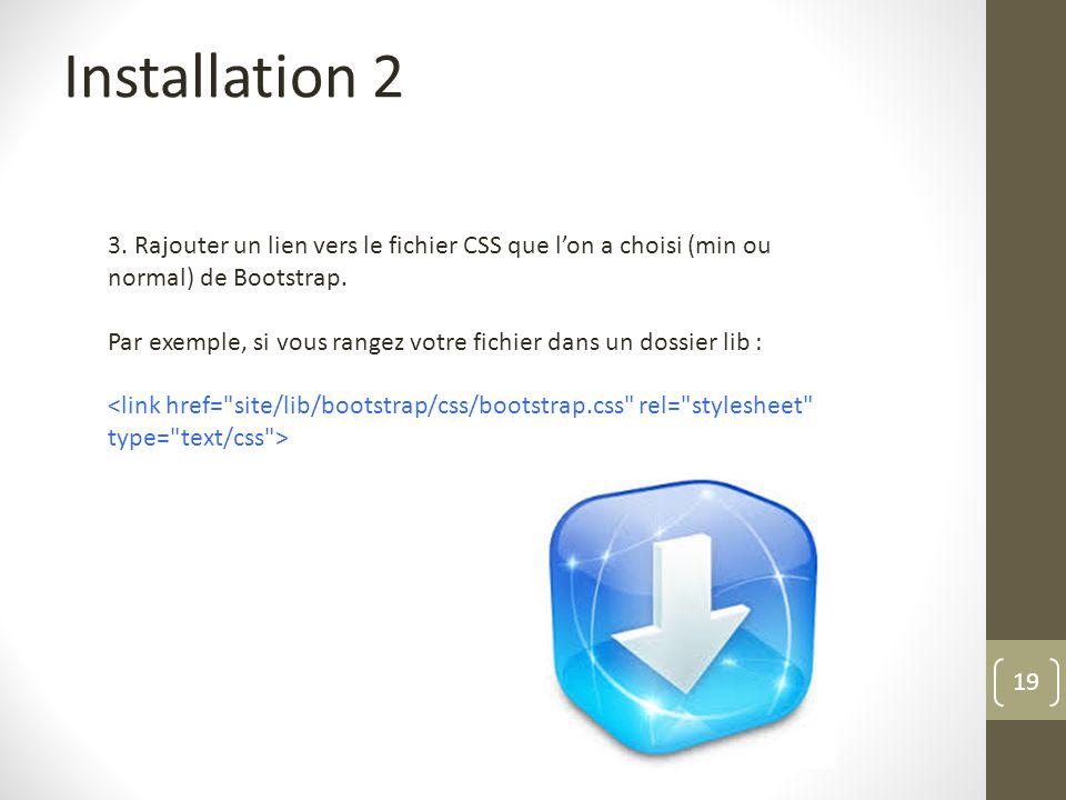Installation 2 3. Rajouter un lien vers le fichier CSS que l'on a choisi (min ou normal) de Bootstrap.