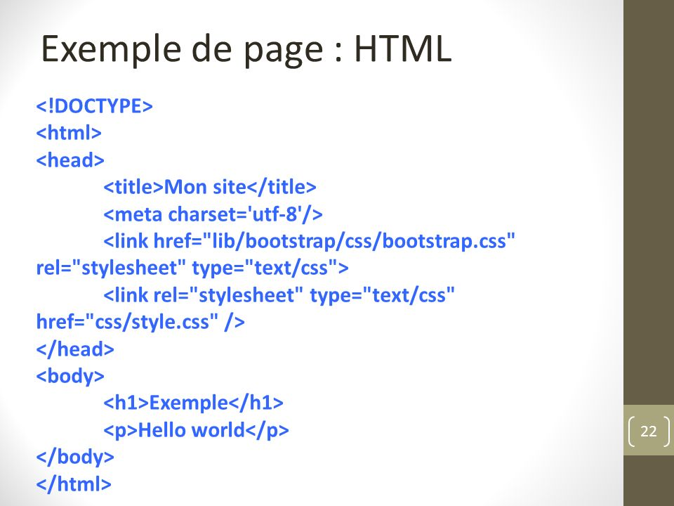 Exemple de page : HTML <!DOCTYPE> <html> <head>