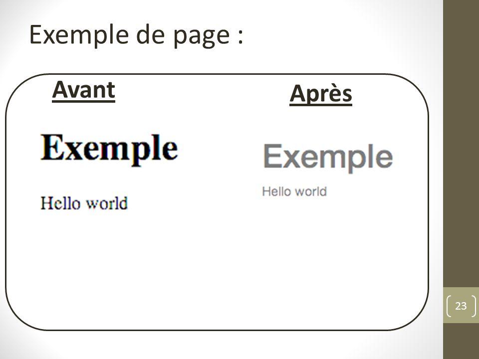 Exemple de page : Avant Après