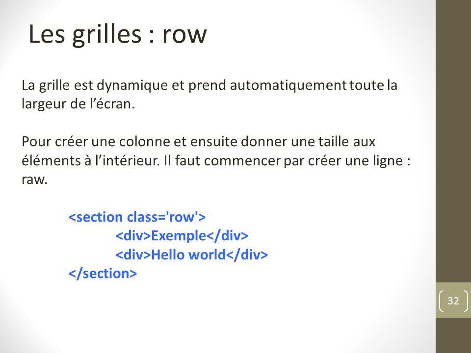 Les grilles : row La grille est dynamique et prend automatiquement toute la largeur de l'écran.