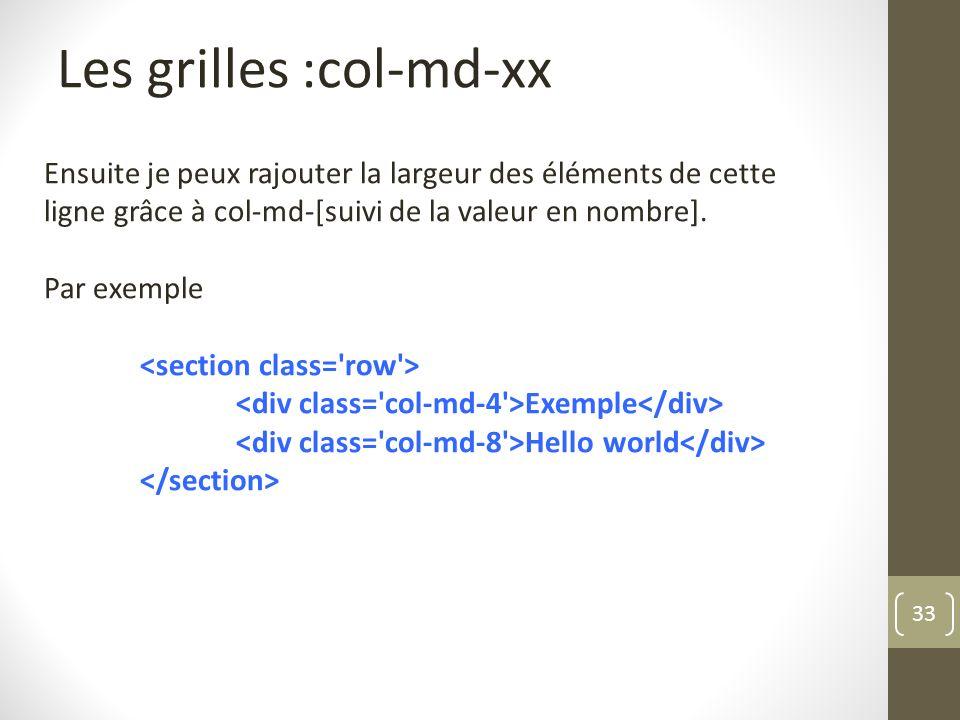 Les grilles :col-md-xx