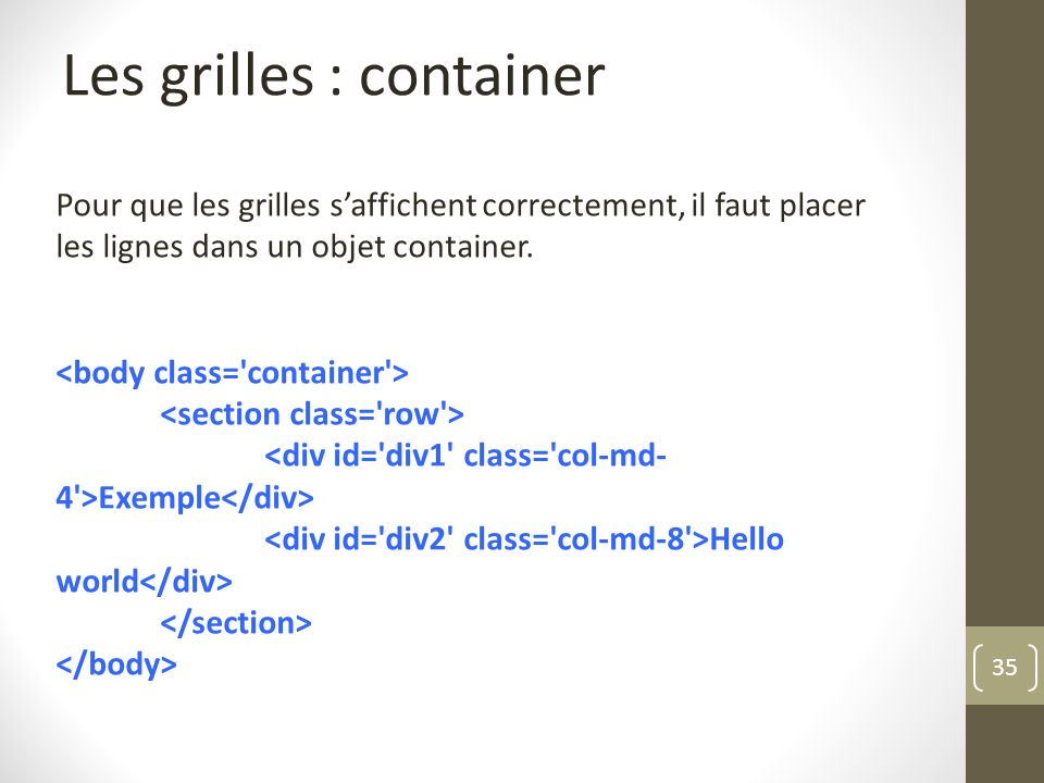 Les grilles : container