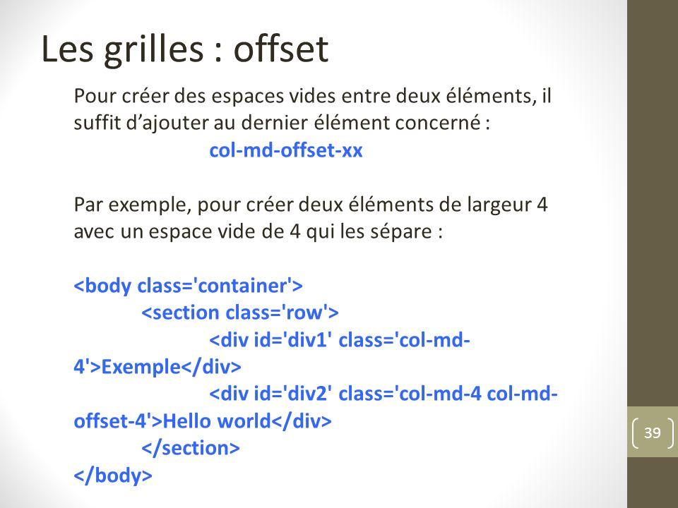 Les grilles : offset Pour créer des espaces vides entre deux éléments, il suffit d'ajouter au dernier élément concerné :