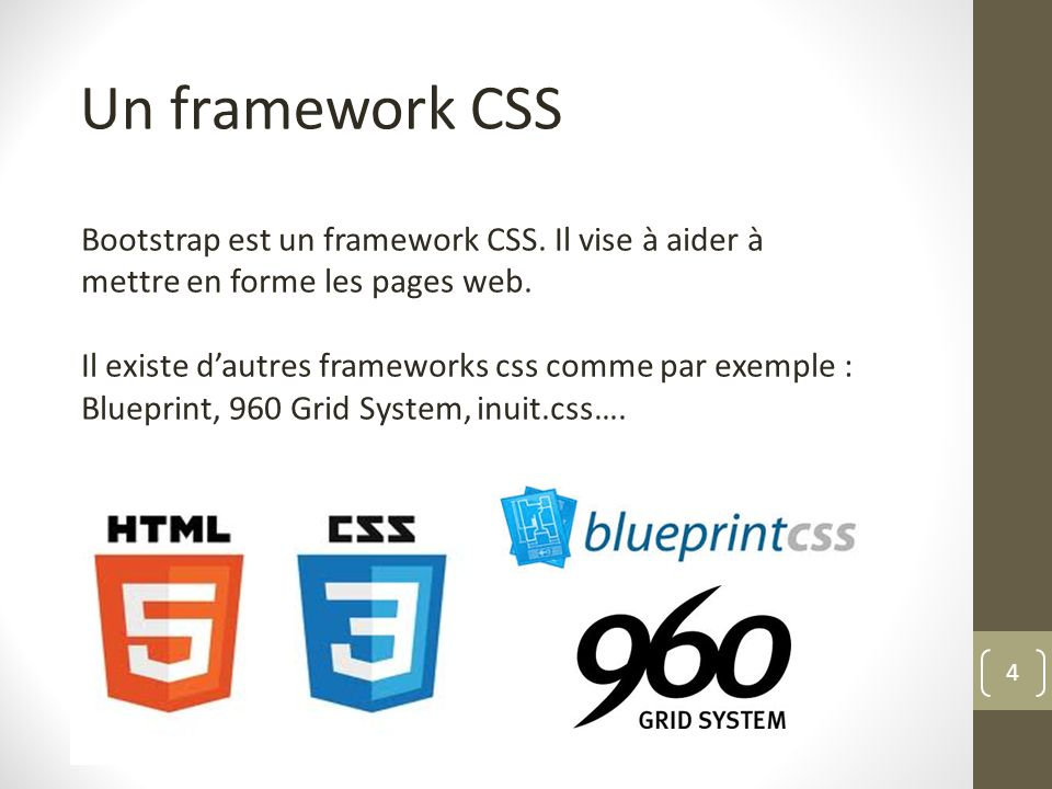 Un framework CSS Bootstrap est un framework CSS. Il vise à aider à mettre en forme les pages web.