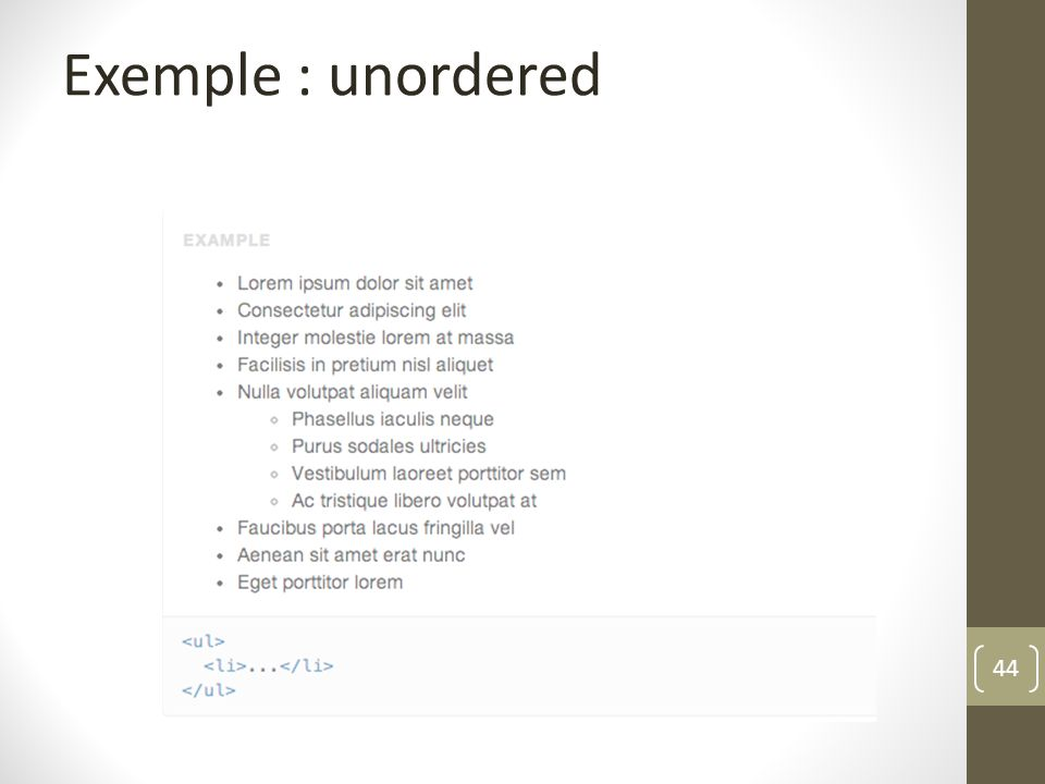 Exemple : unordered