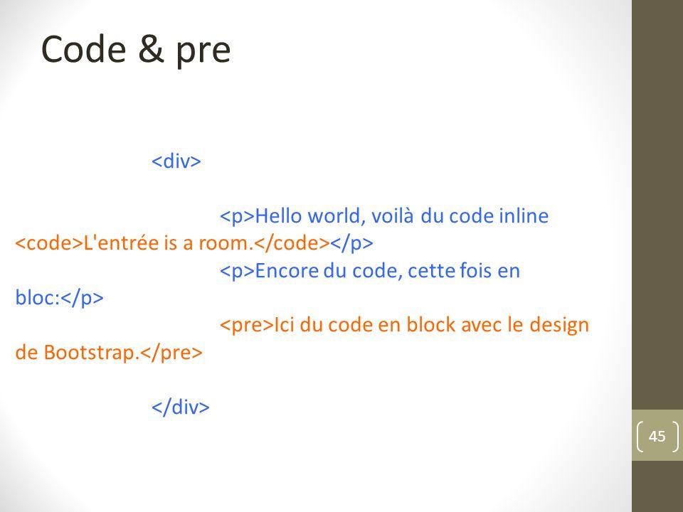 Code & pre <div> <p>Hello world, voilà du code inline <code>L entrée is a room.</code></p> <p>Encore du code, cette fois en bloc:</p>