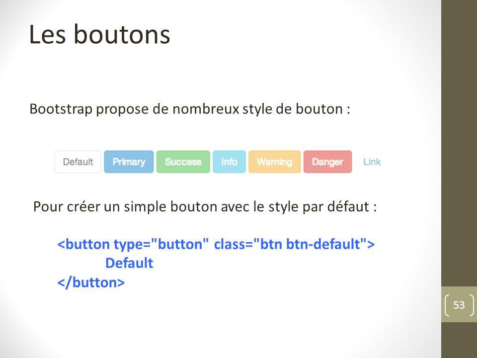 Les boutons Bootstrap propose de nombreux style de bouton :