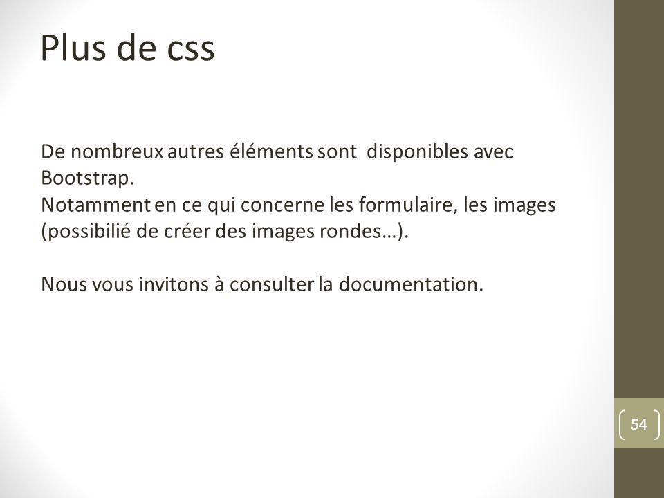 Plus de css De nombreux autres éléments sont disponibles avec Bootstrap.
