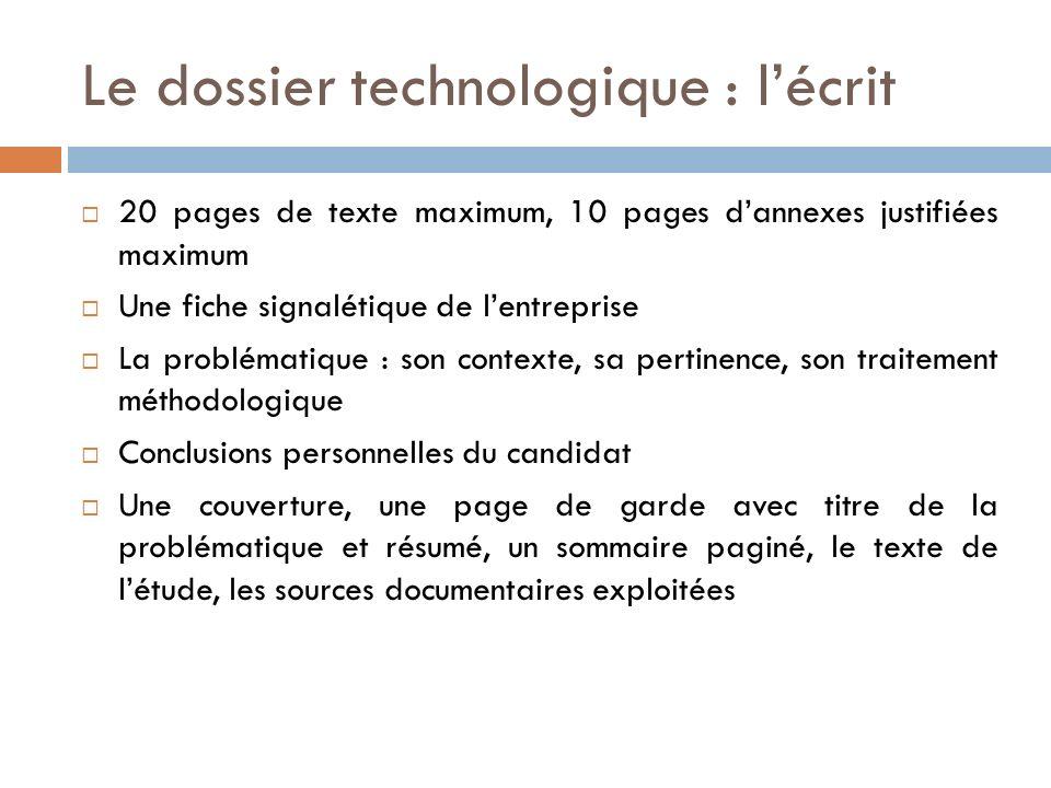 Le dossier technologique : l'écrit