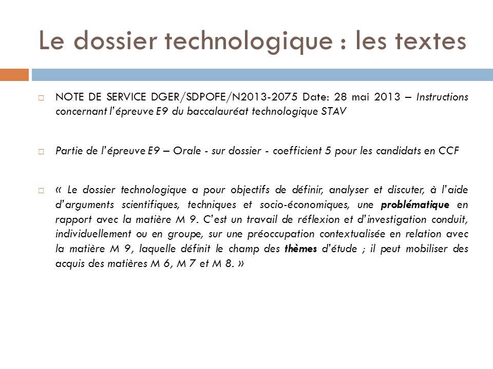 Le dossier technologique : les textes