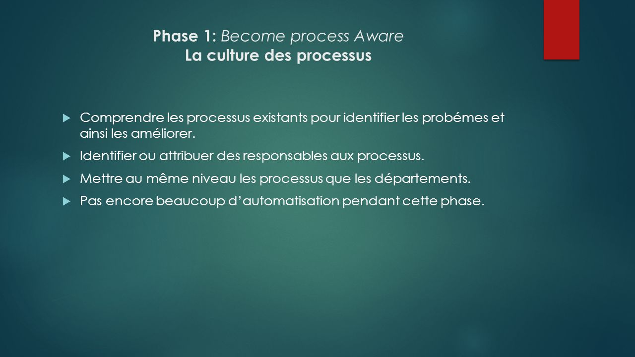 Phase 1: Become process Aware La culture des processus