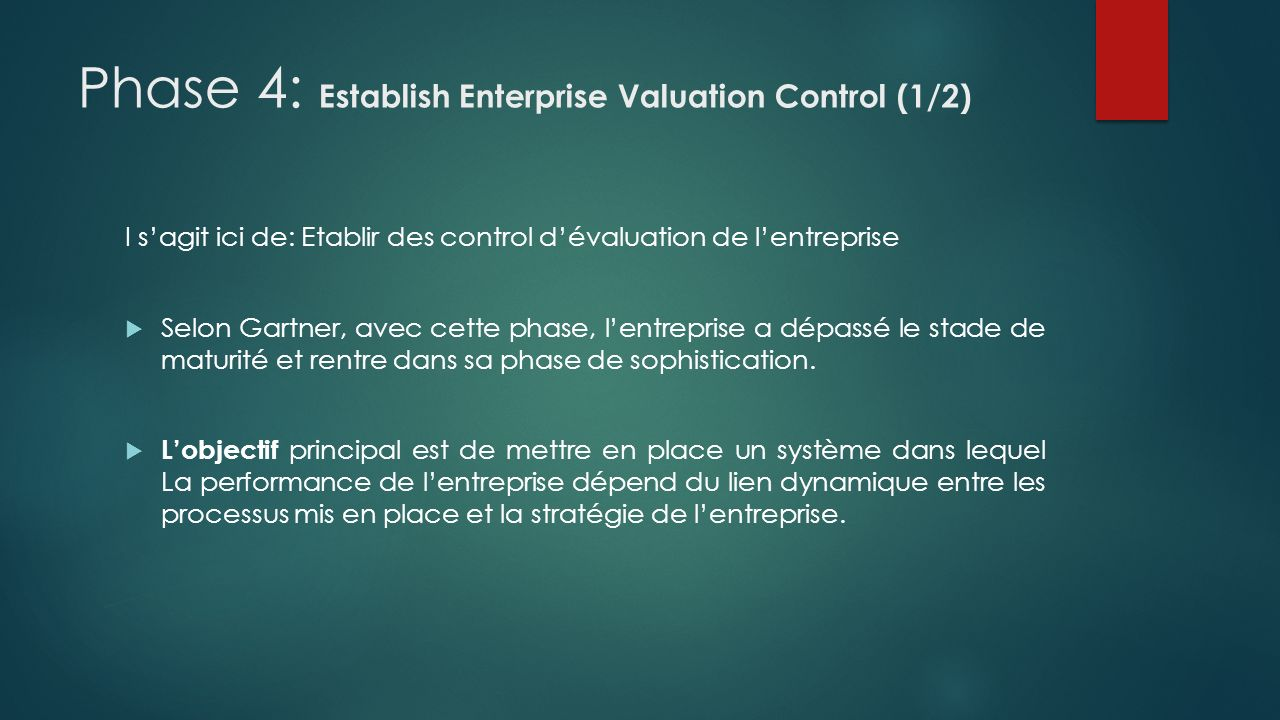 Phase 4: Establish Enterprise Valuation Control (1/2)