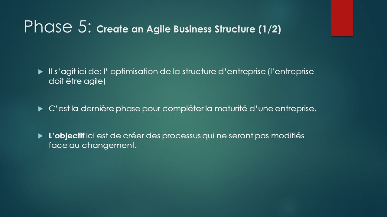 Phase 5: Create an Agile Business Structure (1/2)