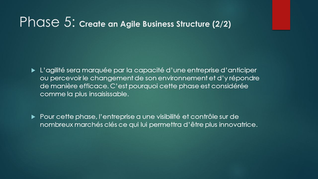 Phase 5: Create an Agile Business Structure (2/2)