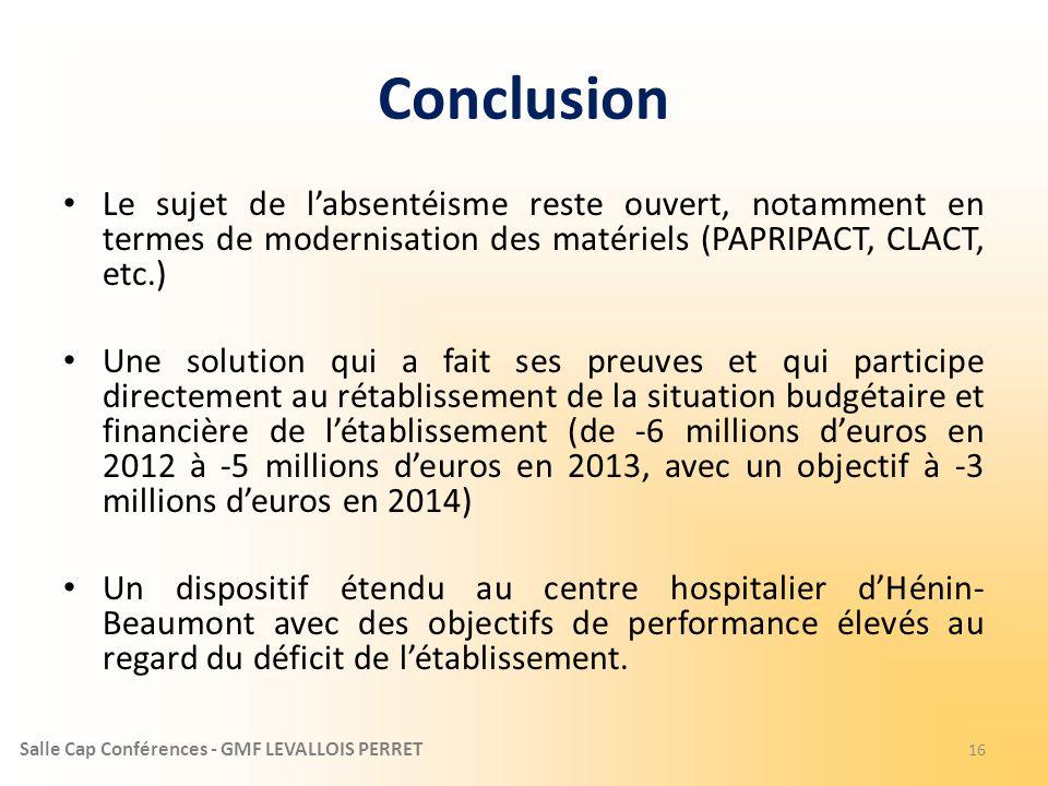 Conclusion Le sujet de l'absentéisme reste ouvert, notamment en termes de modernisation des matériels (PAPRIPACT, CLACT, etc.)