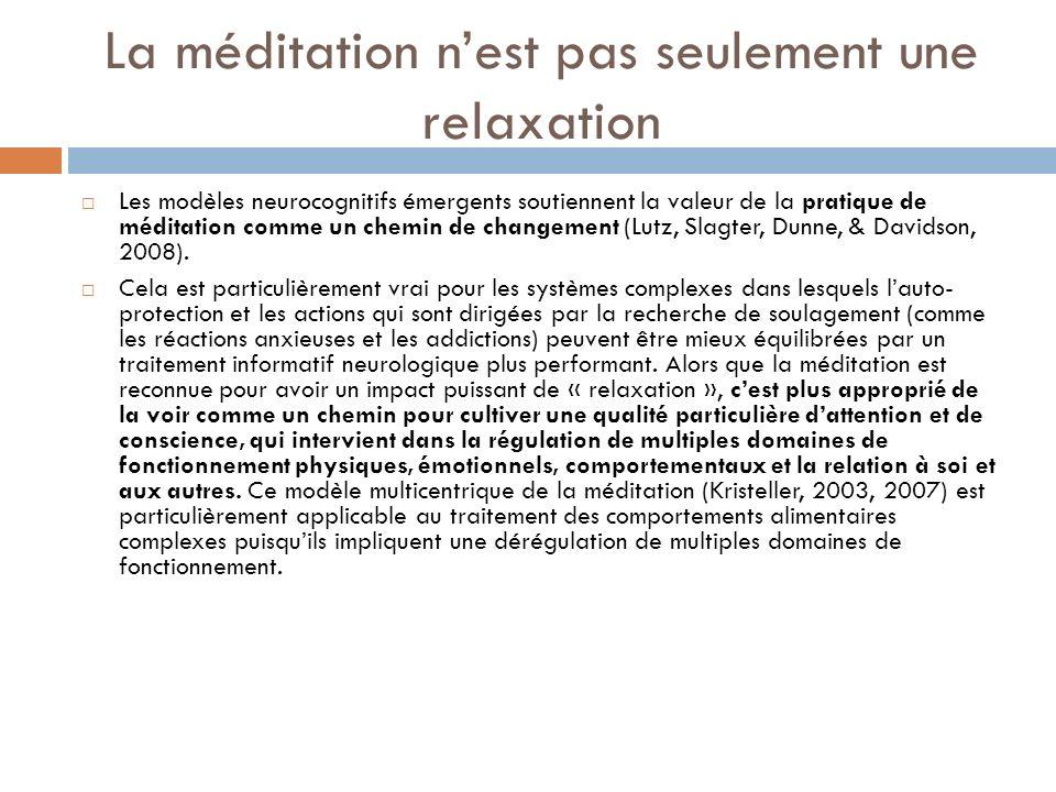 La méditation n'est pas seulement une relaxation