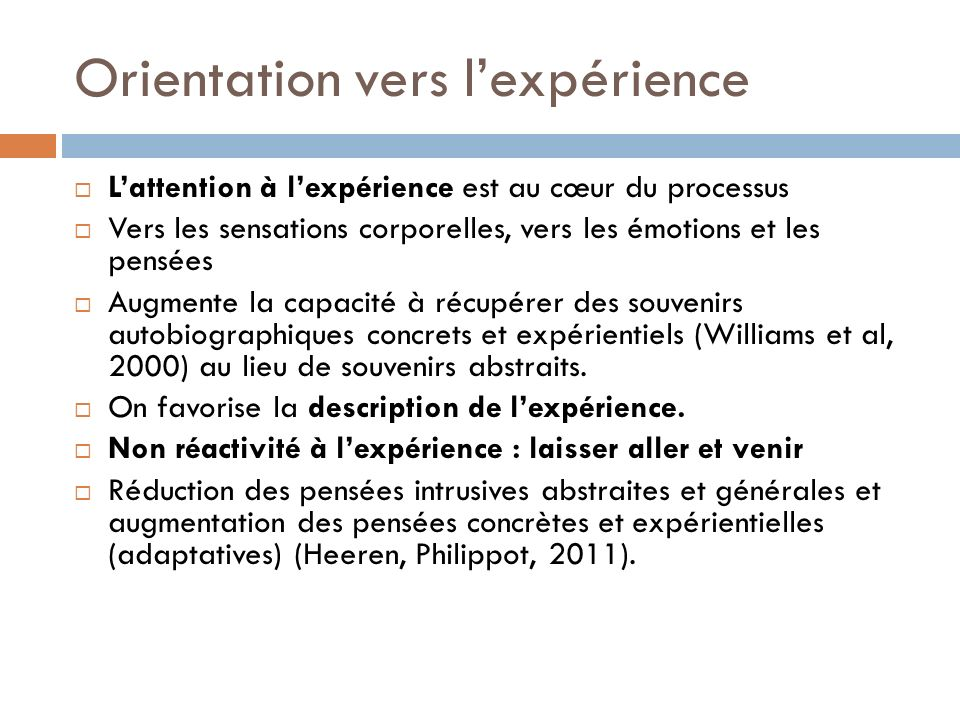 Orientation vers l'expérience