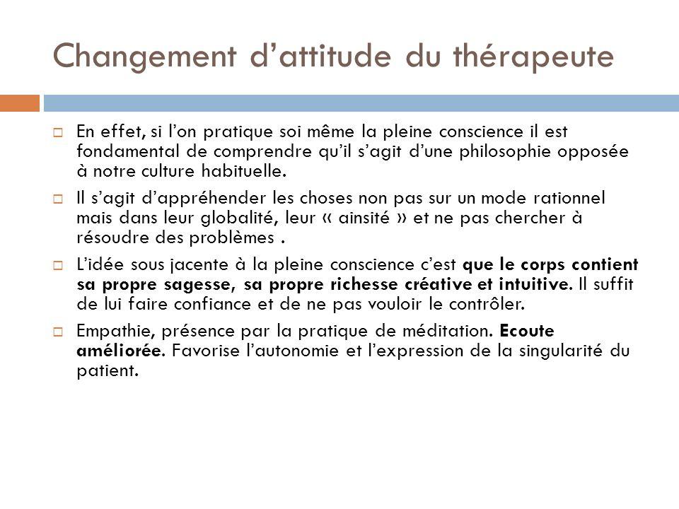 Changement d'attitude du thérapeute