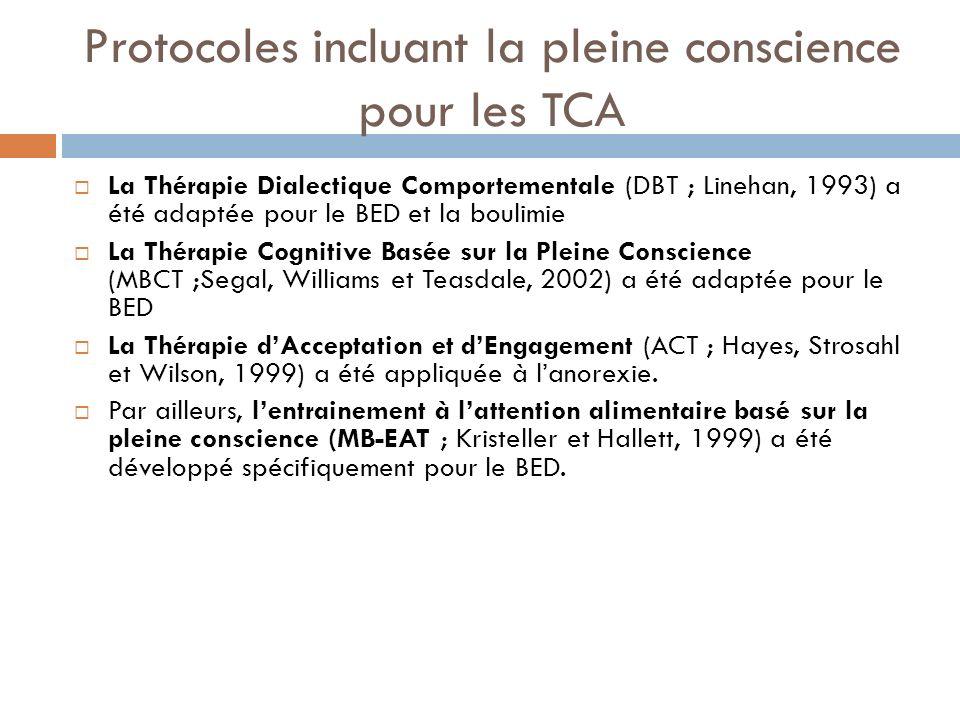 Protocoles incluant la pleine conscience pour les TCA