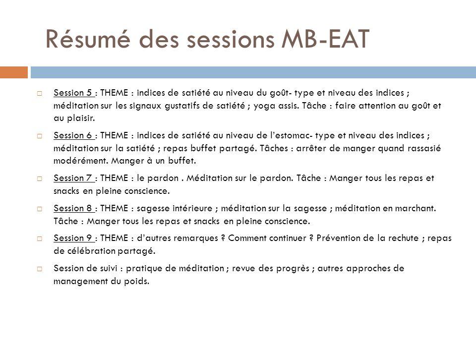 Résumé des sessions MB-EAT