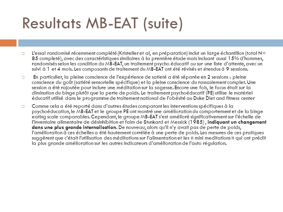 Resultats MB-EAT (suite)