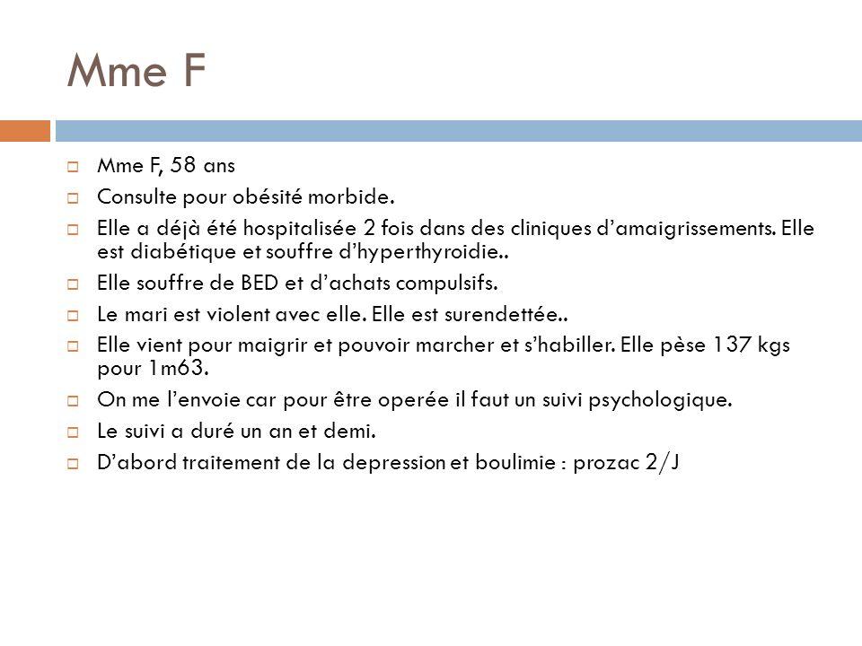 Mme F Mme F, 58 ans Consulte pour obésité morbide.