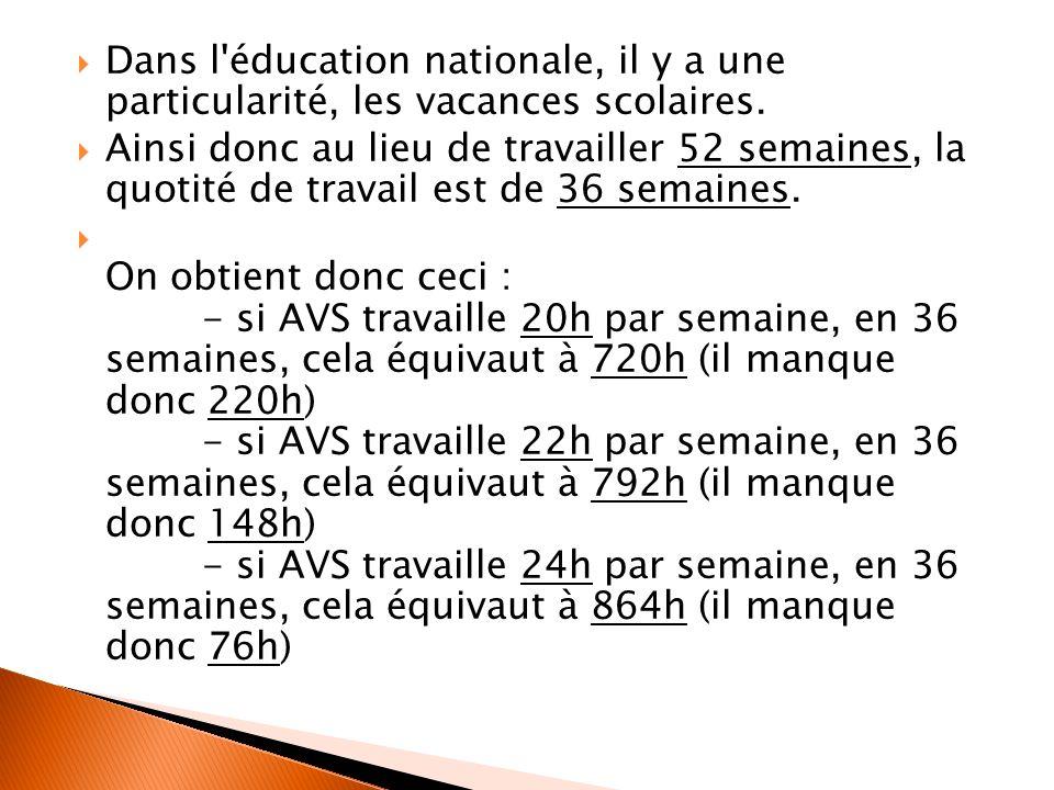 Dans l éducation nationale, il y a une particularité, les vacances scolaires.