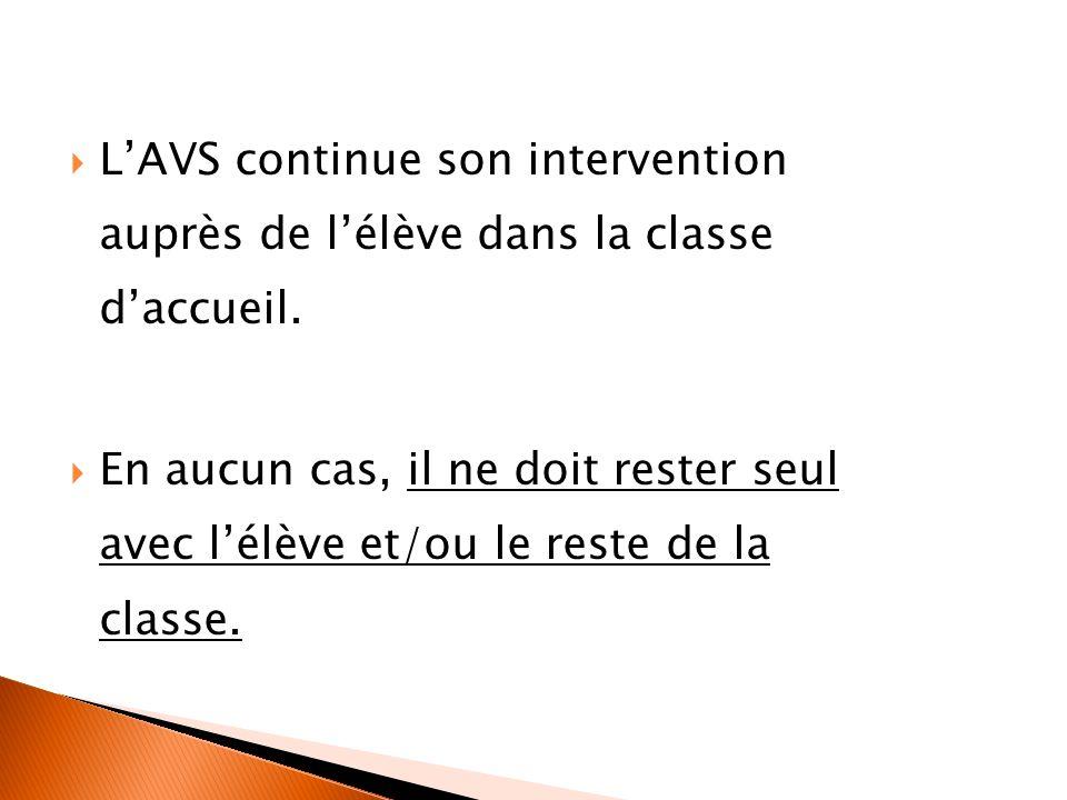 L'AVS continue son intervention auprès de l'élève dans la classe d'accueil.