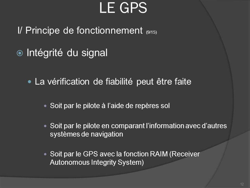 LE GPS Intégrité du signal I/ Principe de fonctionnement (9/15)