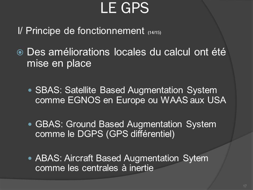 LE GPS Des améliorations locales du calcul ont été mise en place