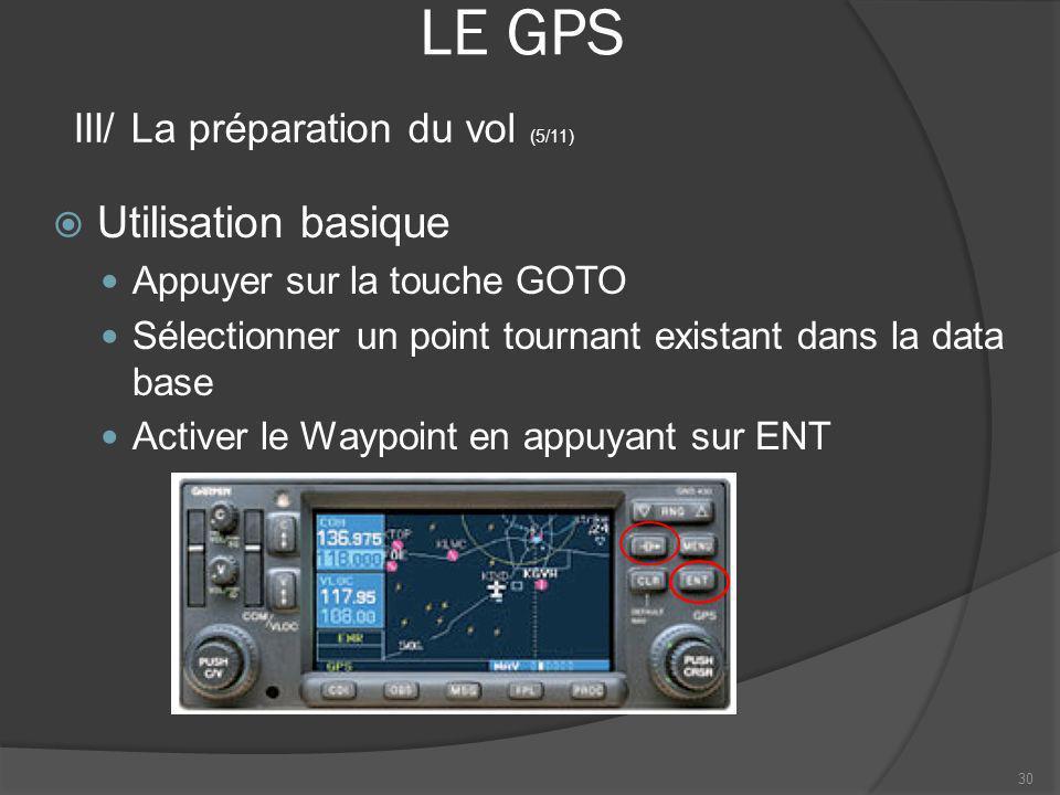 LE GPS Utilisation basique III/ La préparation du vol (5/11)