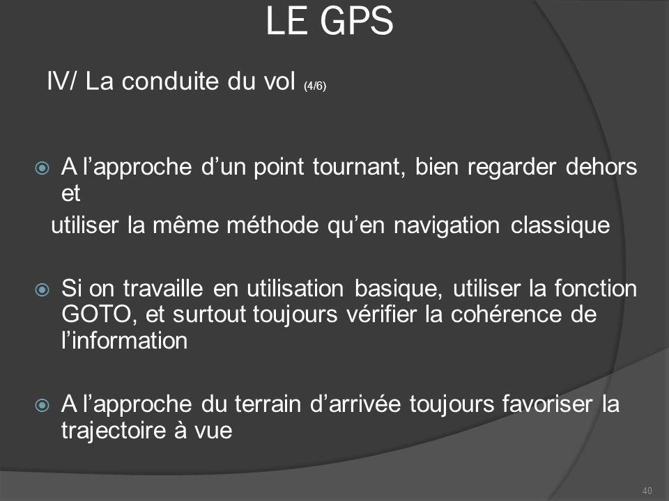 LE GPS IV/ La conduite du vol (4/6)
