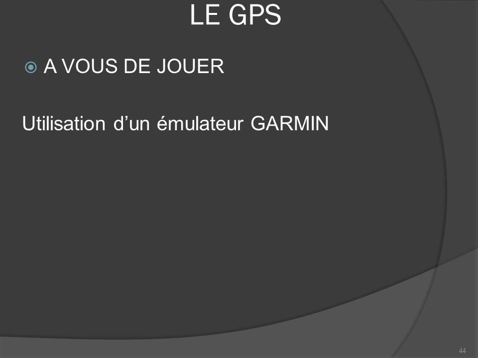 LE GPS A VOUS DE JOUER Utilisation d'un émulateur GARMIN