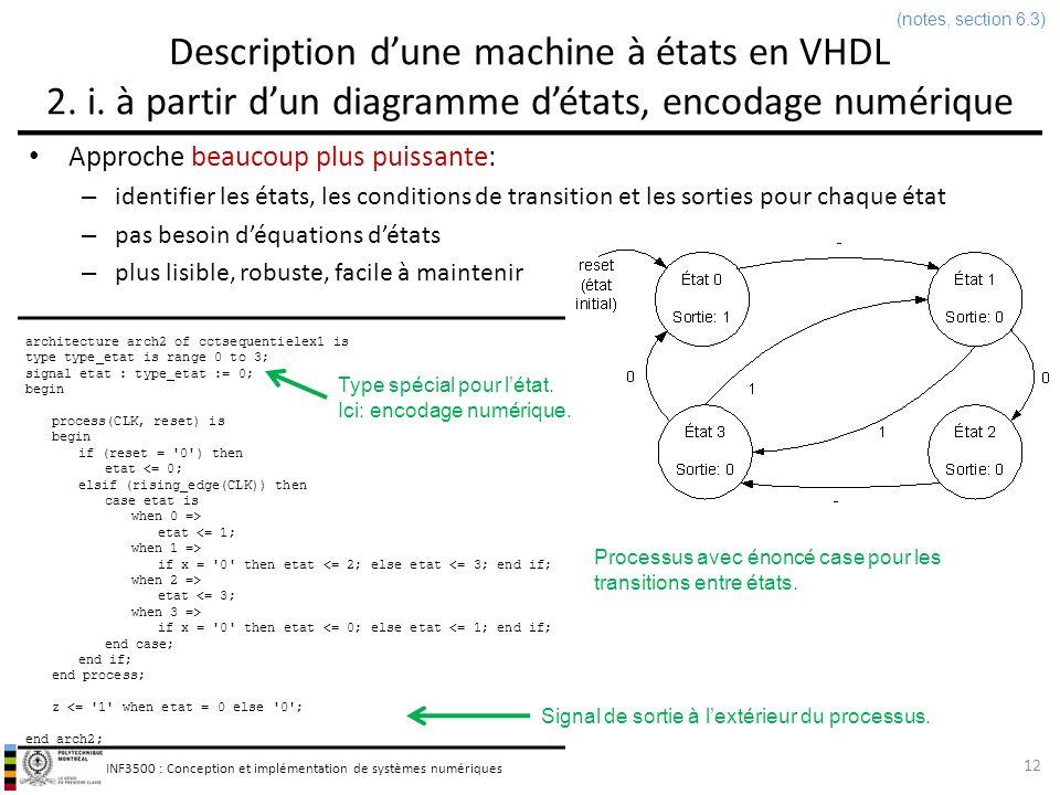 (notes, section 6.3) Description d'une machine à états en VHDL 2. i. à partir d'un diagramme d'états, encodage numérique.